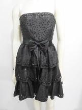 Betsey Johnson 4 Evening Black Sequins Strapless LBD Cocktail Dress Crin... - $1.099,19 MXN