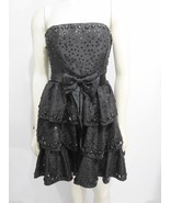 Betsey Johnson 4 Evening Black Sequins Strapless LBD Cocktail Dress Crin... - $57.48