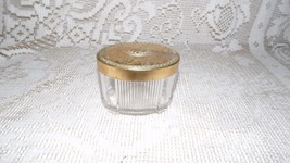 VINTAGE TRINKET BOX GLASS FANCY BRASS FLORAL ETCHED LID - $9.89