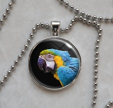 Blue and Yellow Macaw Parrot Psittacines Animal Bird Pendant Necklace - £10.64 GBP+
