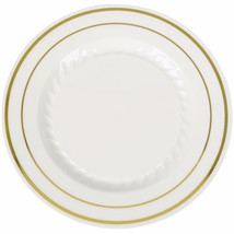 "9"" Premium Heavy Duty Plastic Dinner Plates Ivory with gold trim (12pcs) - €8,41 EUR"