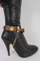 New Women Fashion Boot Shoe Strap Big Spikes Gold Silver Metal Chain Black Brown - $17.99