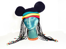 "DisneyLand Mickey Mouse Ears Jamaican Rasta Braids Beads Beanie Hat 22"" ... - $19.79"