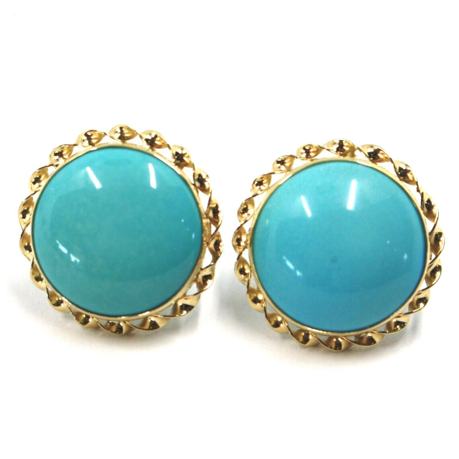 18K YELLOW GOLD EARRINGS, CABOCHON ROUND TURQUOISE SPIRAL FRAME, MADE IN ITALY
