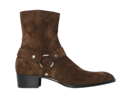 Mens brown high ankle suede leather boot, Men Side zipper suede leather boots - $179.99+