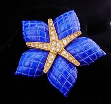 "Vintage STARFISH brooch sparkling rhinestone blue brooch 2"" Oceanic Naut... - $55.00"