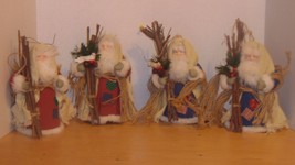 "Santas Stand Up or Tree Topper Sticks Bird Beard Berries Fur 8"" Pine Cones - $19.99"