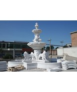 MAGNIFICENT WHITE MARBLE CHERUBS/ LIONS LARGE GARDEN FOUNTAIN.29'FT TALL - $98,000.00