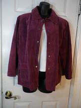 Chico Size 3 Suede Leather Jacket Blazer  Coat Purple Deep Lavender Zipper - $64.35