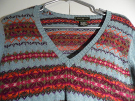 Vintage Eddie Baurer V Neck Sweater  XL Multi Color  Blue Cotton Blend - $31.68
