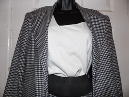 Linda Richards Skirt Suit Size 4 Houndsthooth Check Black White USA - $68.31