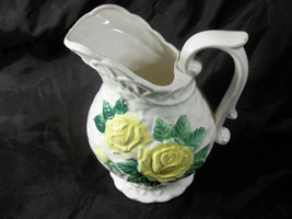 Vintage Rueben Original White Basket Weave Pitcher Vase Yellow Flower Gr... - $34.65