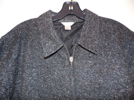 Large Christopher Banks Tweed Blazer Jacket  Coat Black White Zip Front - $39.59