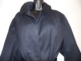 Extra Large Black Trench Coat  Calf Length Pea Coat Over Coat - $49.49