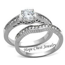 HCJ Never Fade Antique Inspired Stainless Steel CZ Wedding Ring Set Size 9 - $19.98