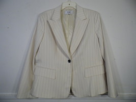 LeSuit  Size 16 Petite Blazer Jacket  Beige White Charcoal  Pin Stripe - $35.63