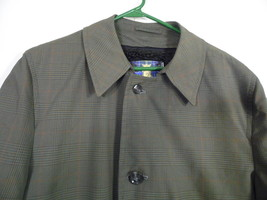 Vintage Gleneagle Size 38 Green Plaid Trench Coat. Winter Lining. Palette Pea - $68.80