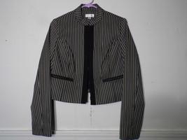 Isaac Mizrahi Medium  Balero Blazer Jacket Striped Gray Black White Cotton Blend - $28.70