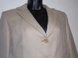 Ann Taylor 10 Tan White Pant Suit Stripe Career 100% Wool Blazer Trouser - $69.29