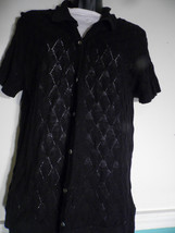 Vintage Eddie Bauer Large Black Cardigan Sweater  Short Sleeve  Button Down - $24.74