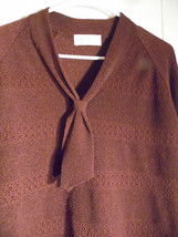 Vintage Sweater Knit Blouse Top  Shirt Brown Tie Size 38 Talbot USA - $25.73