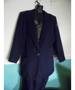 Vintage Karen Scott Navy Blue Skirt Suit, Size 16 Blazer Jacket Thailand - $44.55