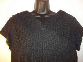 Vintage Green Black Textured Mod Formal Knee Length Dress Size 22 1/2 - $35.63