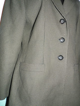 Le Suit Size 8 Skirt Suit  Checked  Brown Black Lined Blazer Jacket  Scarf - $59.39