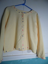Christopher Banks Medium Bright Yellow Cardigan  Sweater Jacket with But... - $28.70