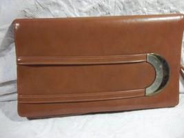 Vintage Brown Cameel Brown Leatherette Clutch  Metal Buckle on Front Zipper Back - $47.52