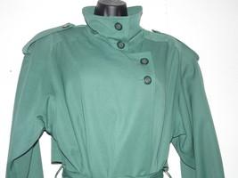 Gallery 4 Green Trench Coat  Button Collar Rain Coat - $69.29
