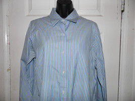 Blouse Shirt Company Ellen Tracy  Size 12 Blue White Stripe 100% Cotton - $29.69