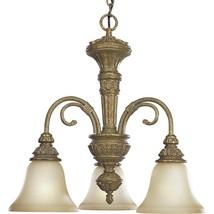 Antique Stone Glass 3 Light Hanging Chandelier Progress Lighting P4520-62 - €140,79 EUR