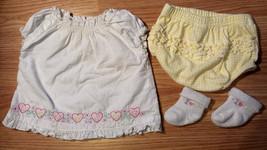Girl's Sz 0-3 M Months Two Piece White Floral & Heart Dress, Yellow DC & Socks - $16.50