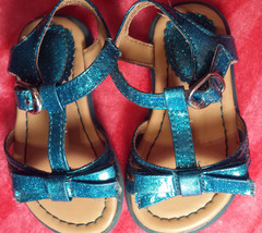 Baby Girl's Size 4 The Children's Place Blue Glitter Sandals W/ Bows EUC - $15.00
