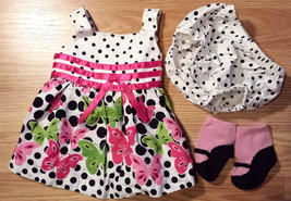 Girl's Size 3 M 0-3 Months 3 Piece White Bonnie Baby Butterfly Dress, DC & Socks - $16.00