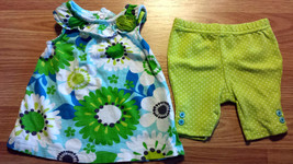 Girl's Size 3 M 0-3 Months Two Piece Carter's Blue Floral Ruffle Top & Leggings - $13.00