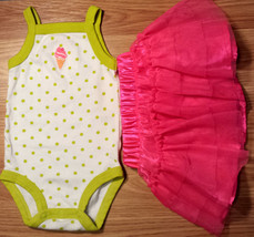 Girl's Size 3 M 0-3 Months 2 Pc Ice Cream Cone Carter's Tank Top & Tulle... - $12.50