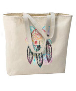 Colorful Dream Catcher New Large Natural Cotton Tote Bag - $19.99