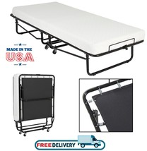 Folding Rollaway Guest Bed Cot With Memory Foam Mattress Portable Travel... - $219.00