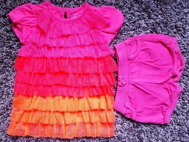 Girl's Size 3 M 0-3 Months Two Pc Pink/ Orange PLACE Tulle Top & J Beans Shorts - $16.50