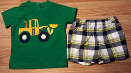Boy's Size 3 M 0-3 Months Two Piece Carter's Green Scoop Truck Top, Plai... - $16.50