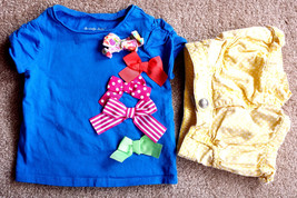 Girl's Size 9-12 M Months 2 Pc Blue Top W/ Ribbon Bows & Old Navy Yellow Shorts - $17.00