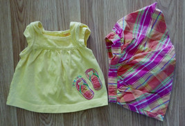 NWOT Girl's Size 3 M Months Carter's Flip Flops Embroidered Top & Skirt ... - $16.90