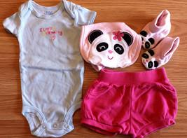 Girl's Size NB Newborn 4 Pc Carter's Blue Penguin Mom Top, Shorts, Bib &... - $15.00