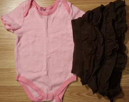 Girl's Size 12 M Months Two Pc Outfit FG Pink Top & Brown Children's Place Skirt - $16.00