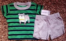 NWT Boy's Size 3M 0-3 Months 2 Piece Carter's Green Striped Dog Top, Gra... - $18.00