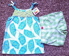 Girl's Size 18 M 12-18 Months 2 Pc White Blue NWT Healthtex Feather Top ... - $17.00