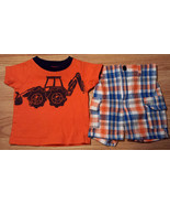 Boy's Size 0-3 M Months 2 Pc Orange Scoop Truck Carter's Top & Plaid Pol... - $15.00
