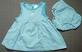 Girl's Size 0-3 M Months Two Pc Children's Place Blue/White Striped Floral Dress - $17.50